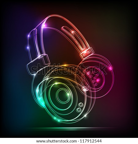 Vector neon Headphones, grunge music - stock vector