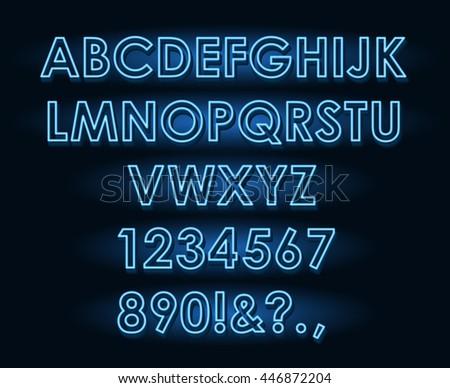 Vector neon tube blue light letters font on dark background - stock vector