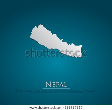 vector Nepal Map card paper on blue background, high detailed - stock vector