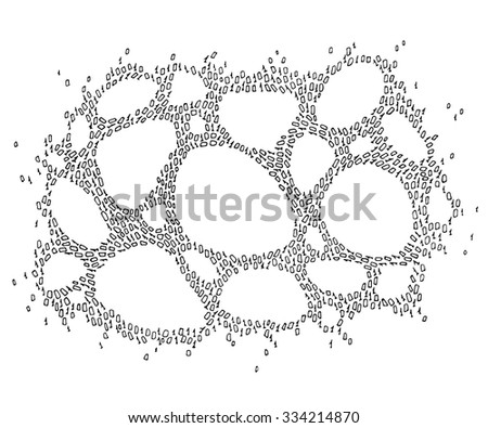 vector net made by binary code - stock vector