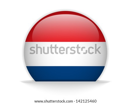 Vector - Netherlands Flag Glossy Button - stock vector