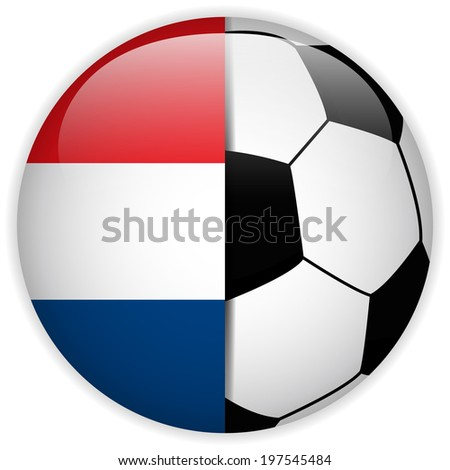 Vector - Netherlands Flag with Soccer Ball Background - stock vector