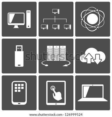 Vector Network and Mobile Connections Icon Set - stock vector