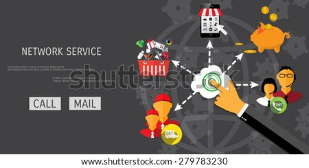 Vector network service concept illustration. Freelance job. Internet working. E-commerce and internet banking. - stock vector