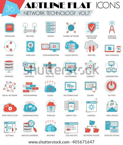 computer network icons stock images royalty images vectors vector network technology ultra modern outline flat line icons for web and apps
