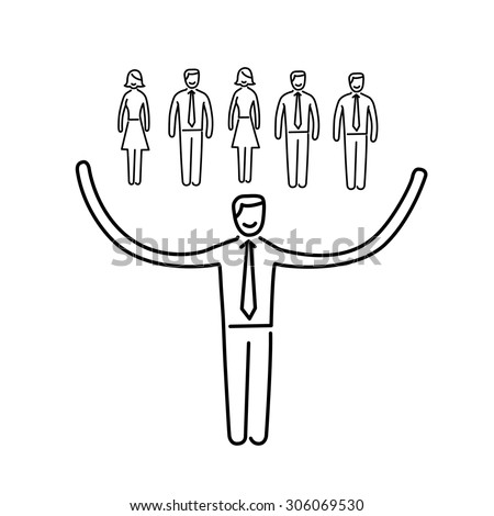 Vector networking skills icon of businessman taking care about his team | modern flat design soft skills linear illustration and infographic black on white background - stock vector