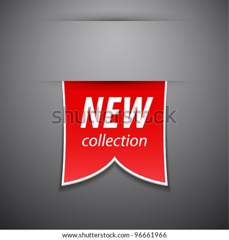 Vector new collection tag on grey background. - stock vector