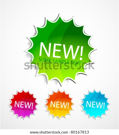 Vector new labels - stock vector