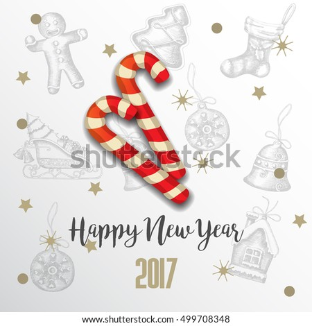 Vector New Year background with festive candies, snow and inscription on white.