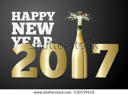 Vector New Year banner or poster concept with popping champagne bottle.