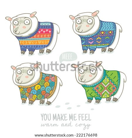 Vector new year card with cute four sheep in knitted sweaters - stock vector