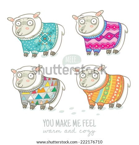 Vector new year card with cute four sheep in knitted sweaters