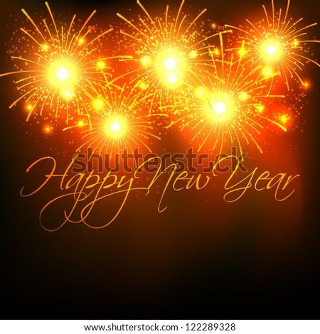 vector new year celebration with fireworks - stock vector