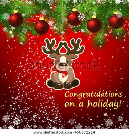 Vector New Year design background. Template card whit red Christmas balls on the green branches . Silhouette of a Christmas tree made of stars. Falling snow. Toy decorative deer.    - stock vector