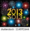 vector new year fireworks 2013 - stock photo