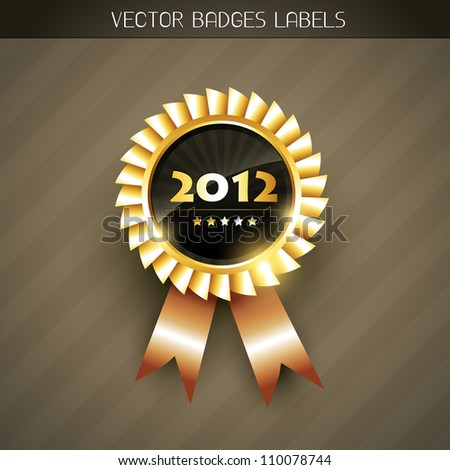 vector 2012 new year golden label - stock vector