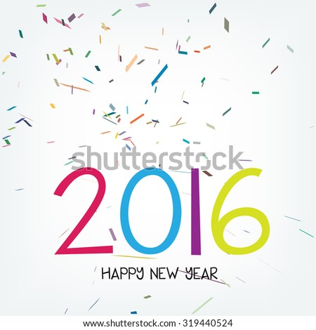 Vector 2016 new year greeting card with confetti background - stock vector