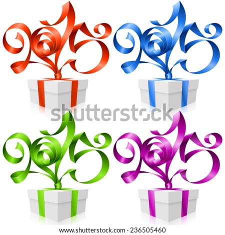 Vector New Year illustration. Red, blue, green and purple ribbons in the shape of 2015 and gift box isolated on white background - stock vector