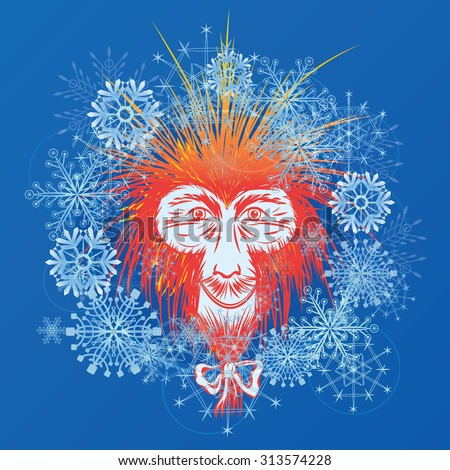 vector New Year illustration with stylized Japanese macaque and snowflakes (EPS 10) - stock vector