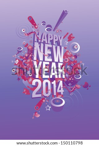 vector new year 2014 in cool background - stock vector