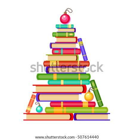 Vector New Year Tree From Colorful Books And Christmas Balls Cartoon X Mas Illustration