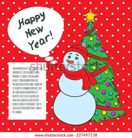 Vector 2015 New year vintage invitation. Vector retro red background cute Snowman and Christmas tree for your design. Suitable for various designs, invitation, thank you card and scrapbooking - stock vector