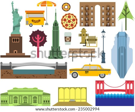 Vector New York city street icon set. A set of New York symbols and landmarks. - stock vector