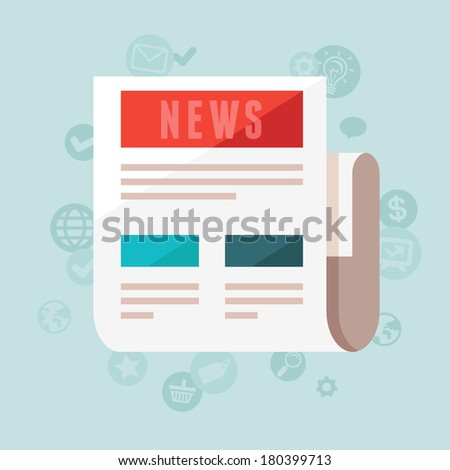 Vector news concept in flat style - newspaper and icons