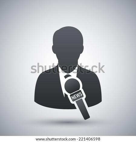 Vector news reporter icon - stock vector