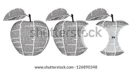 Vector newspaper columns texture shaped with apple - whole and bitten. All texts are unreadable. - stock vector