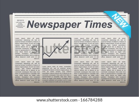 Vector newspaper icon, business news - stock vector