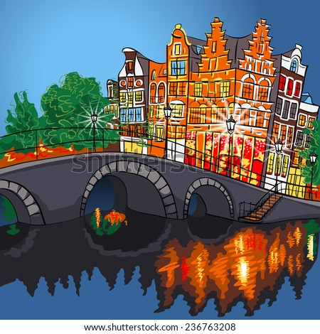 Vector night Amsterdam canal, bridge and typical houses, Holland, Netherlands.  - stock vector
