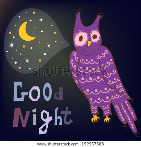 Vector night card with cute owl, moon and stars on the dark background - stock vector
