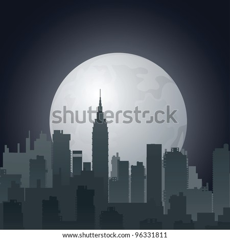 Vector night city against the evening sun - stock vector