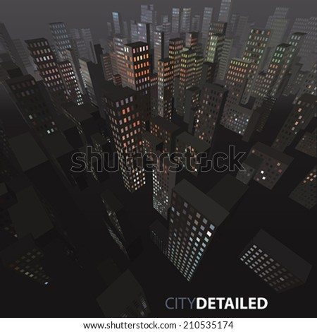 Vector night city background  - stock vector