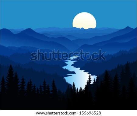 vector night in beautiful mountains with river - stock vector