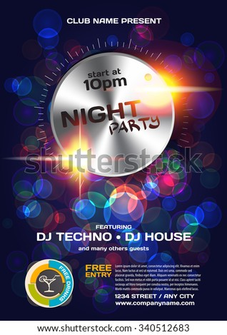 Vector night party invitation techno style. Vector template graphic.