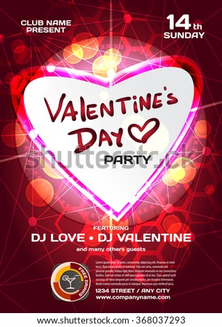 Vector Night Party Valentines Day Techno Stock Vector 368037293 ...
