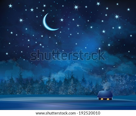 Vector night scene with house  on starry sky background and forest. - stock vector