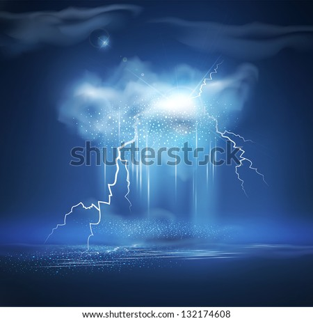 Vector night sea landscape with thunderstorm - stock vector