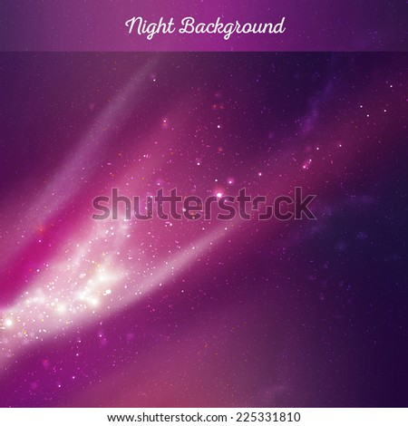Vector night sky background - stock vector