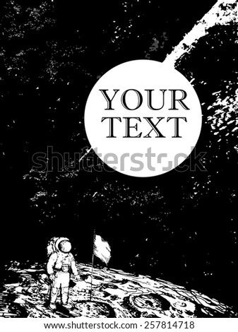 Vector night sky background. Lettering. Spaceman on the moon. - stock vector