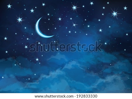 Vector night sky background stars and moon. - stock vector