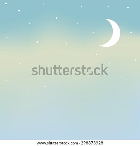 vector night sky, moon and stars - stock vector