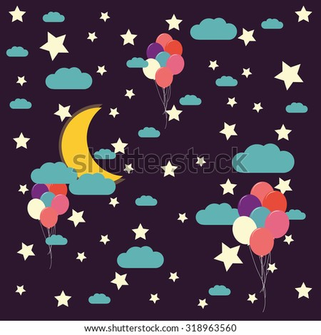 vector night sky, moon and stars, balloons - stock vector