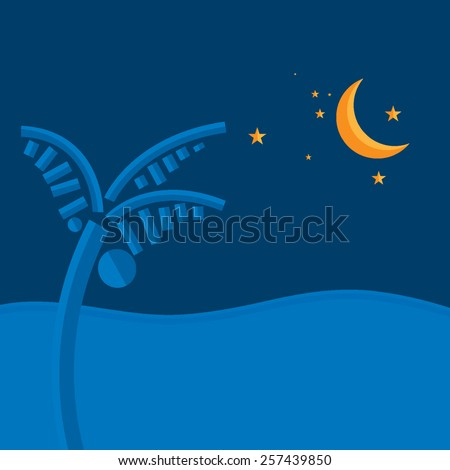 Vector night sky with stars, yellow moon and calm sea   - stock vector