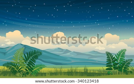 Vector night summer landscape with green grass, fern and mountains on a starry sky background. - stock vector