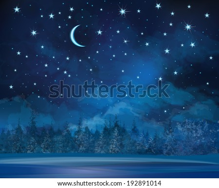 Vector night winter scene, sky and forest background. - stock vector