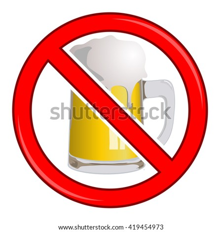 Vector No Beer Sign Isolated
