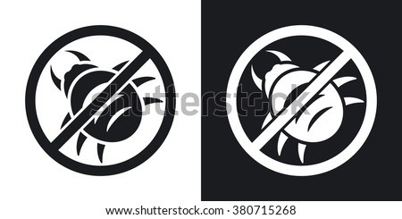 Vector no malware icon. Two-tone version on black and white background